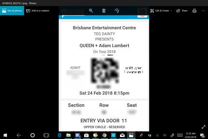 Queen + Adam Lambert Tickets 2x Brisbane