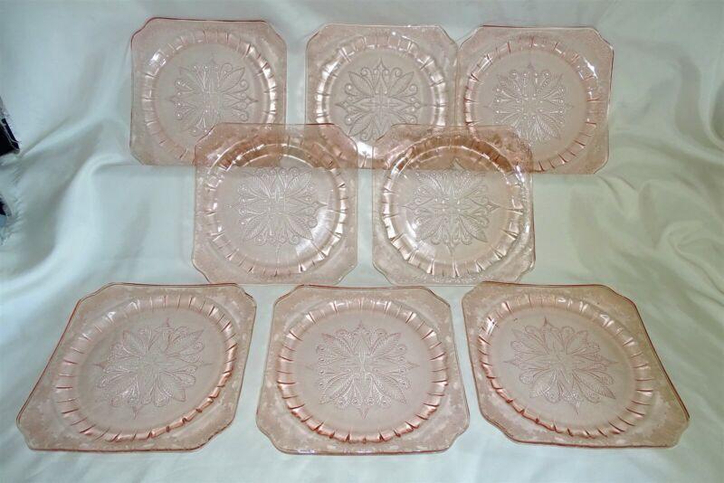 "Jeannette USA Adam Pink Set of 8 Dinner Plates 9"" Depression Era"