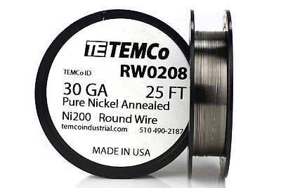 Temco Pure Nickel Wire 30 Gauge 25 Ft Non Resistance Awg Ni200 Nickel 200ga