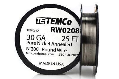 Temco Pure Nickel Wire 30 Gauge 25 Ft Non Resistance Awg Ni200 Nickel 200ga