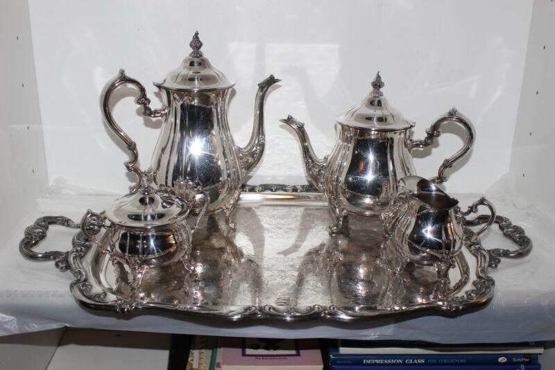 VINTAGE GORHAM HERITAGE SILVERPLATE COFFEE/TEA SET W/TRAY