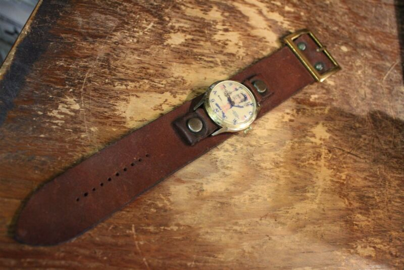 SPIRO AGNEW WATCH - WITH WIDE LEATHER BAND. VINTAGE POLITICAL ITEM