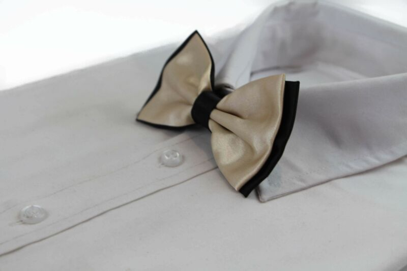 Mens Champagne Two Tone Layered Bow Tie