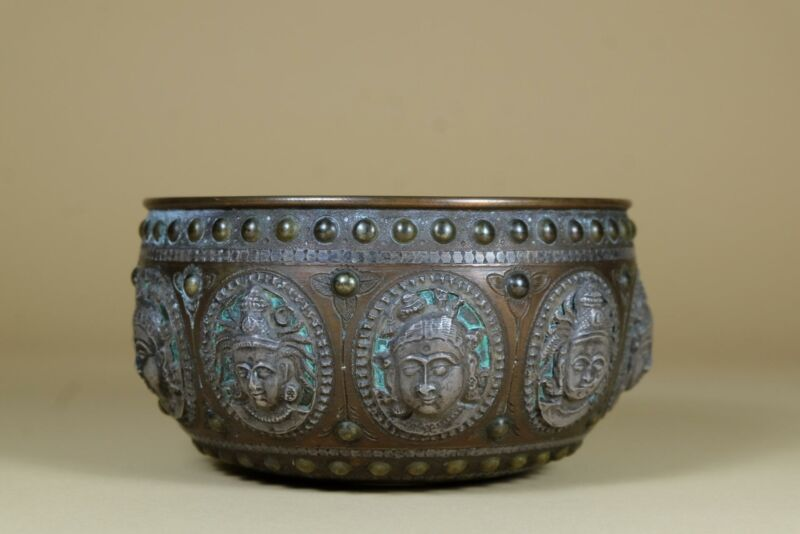 ⭕️ Antique Persian Middle Eastern Rare Carved Brass Basin Bowl.