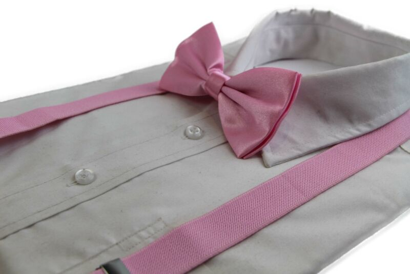 Mens Baby Pink 100cm Suspenders & Matching Bow Tie Set