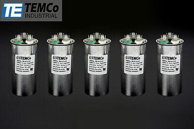 Temco 355 Mfd Uf Dual Run Capacitor 370 440 Vac Volts 5 Lot Ac Motor Hvac 355