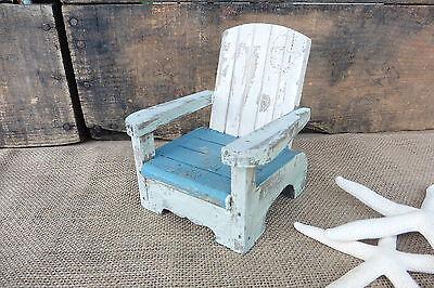 Wood BEACH CHAIR - Blue White & Mint Distressed Ocean Nautical Home Decor