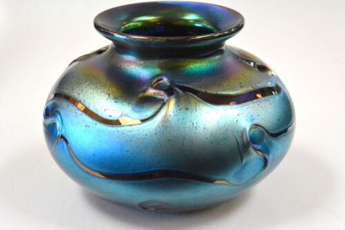 Blue Luster  Vase With Red Threading Design. Blown Glass