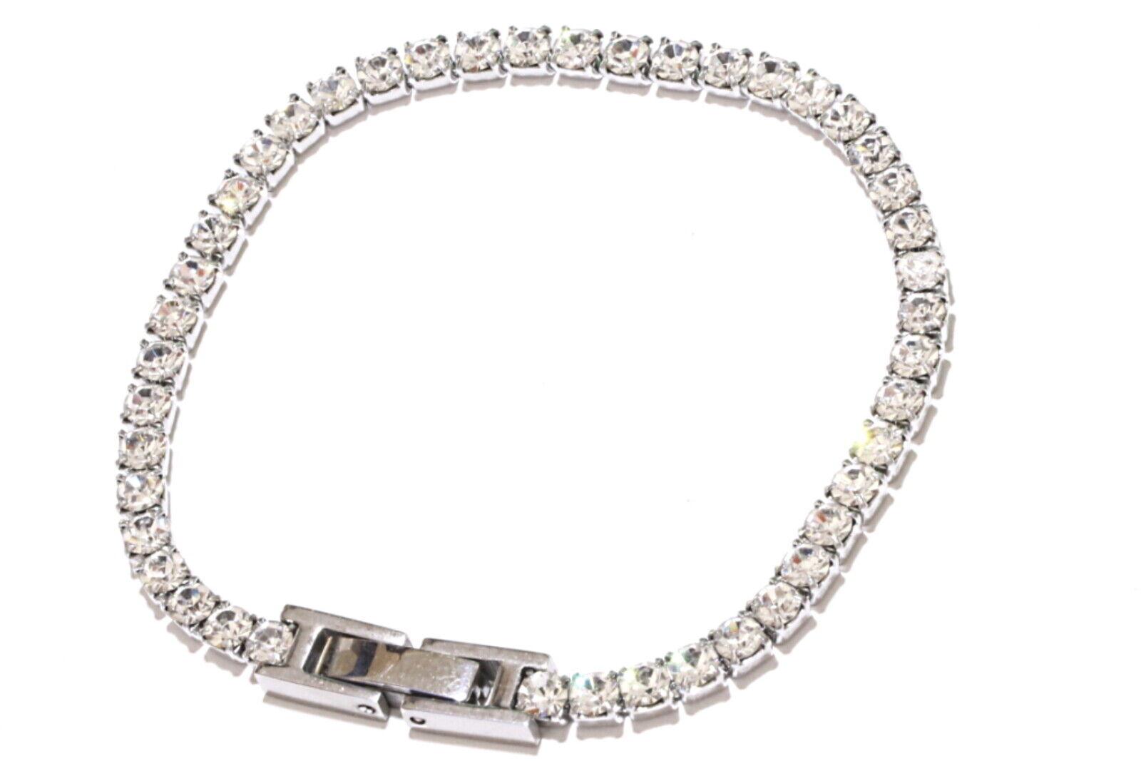 Unisex Edelstahl Tennis Armband mit Swarovski Kristall Silber Kette Partner Reif