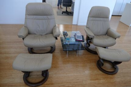 Two Leather Norwegian Ergonomic Scandinavian Lounge Reclining Chairs Hope Island Gold Coast North Preview