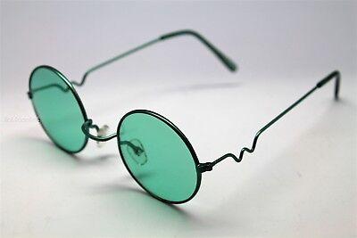 GREEN  ROUND SUN GLASSES GREEN FRAMES TRIGUN VAMPIRE COSPLAY STEAM PUNK (Green Hipster Glasses)