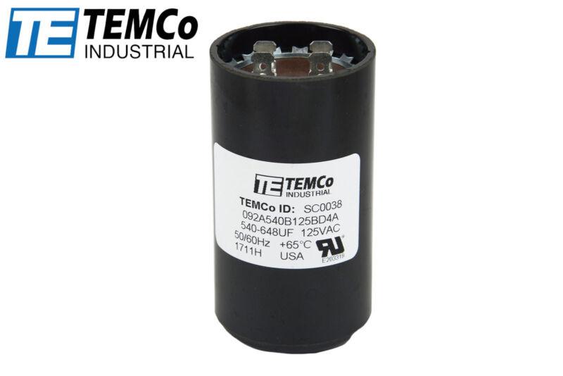 TEMCo 540-648 uf/MFD 110-125 VAC volts Round Start Capacitor 50/60 Hz -Lot-1