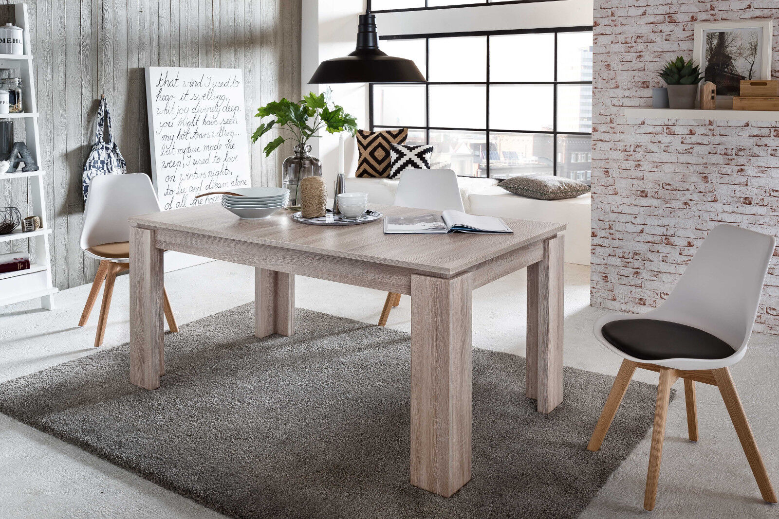 esszimmertisch holztisch ausziehbar sonoma eiche 160 200 cm k chentisch esstisch eur 214 99. Black Bedroom Furniture Sets. Home Design Ideas