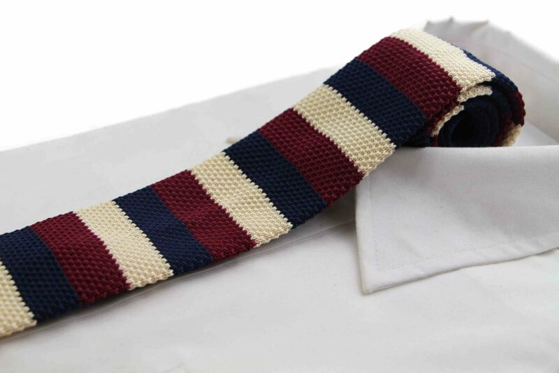 Knitted Thick Striped Navy, Latte & Maroon Striped Patterned Neck Tie