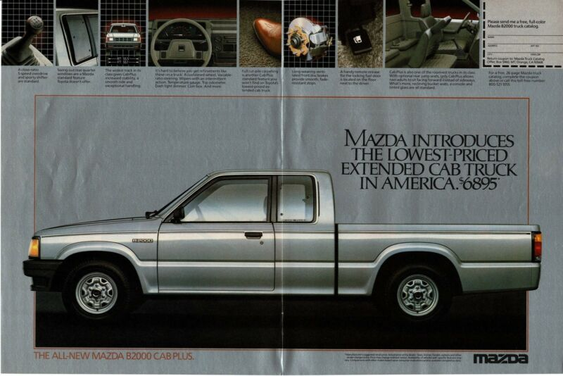 1986 MAZDA B200 Cab Plus Silver Pickup Truck Centerfold Vintage Ad