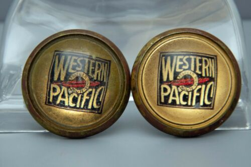 Old Horse Bridle Rosettes Western Pacific Railroad Glass Dome and Brass