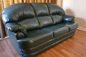 Dark Green Genuine Leather Lounge Klemzig Port Adelaide Area Preview