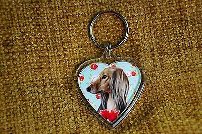 Saluki Sighthound Gift Keyring Dog Key Ring heart shaped Birthday Gift