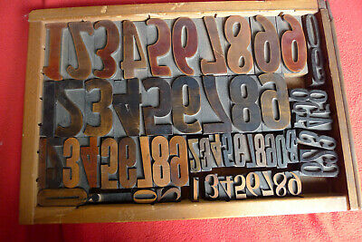 Antique Wood Letterpress Print Type Block Numbers