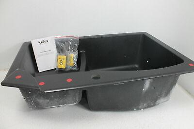 SEE NOTES Kraus Quarza Kitchen Sink KGD-442 33 Inch 60 40 Bowls Black Granite