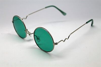 GREEN ROUND SUN GLASSES SILVER FRAMES TRIGUN VAMPIRE COSPLAY STEAM PUNK (Green Hipster Glasses)