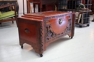Vintage Hand Carved Camphor Chest with Brass Latch  c.1960 Sydney City Inner Sydney Preview
