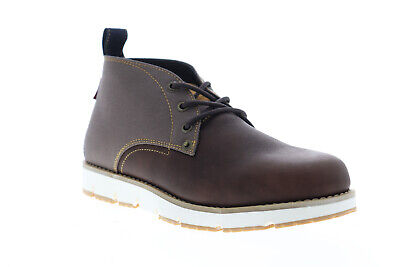 Levis Bradford 518553-01B Mens Brown Leather Lace Up Chukkas Boots Shoes