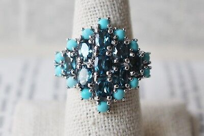 RSI Cocktail RING Turquoise Blue Topaz Sterling Silver SZ 9 NEW Gemstone Cluster Gemstone Cluster Cocktail Ring