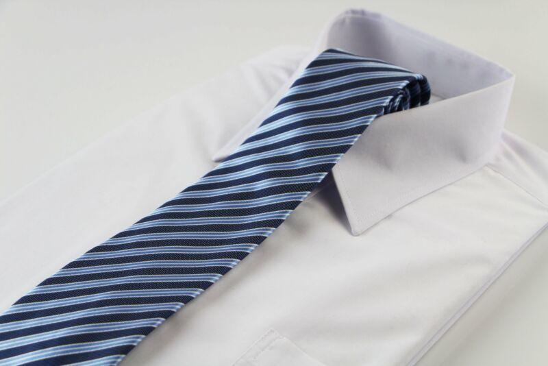 Mens Navy, Light Blue & White Striped Patterned 8cm Neck Tie