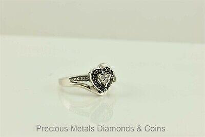 Diamond Set Crossover Ring - Sterling Silver Halo Set Blue Diamond Accent Crossover Heart Ring 925 Sz: 6.5