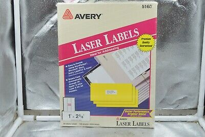 Avery Easy Peel Address Labels Laser 1 X 2-58 5160 3000 Labels 100 Sheets