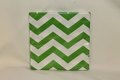 Lime Green Chevron Baby Shower Birthday Party Supplies Small Beverage Napkins - Lime Green Beverage Napkins
