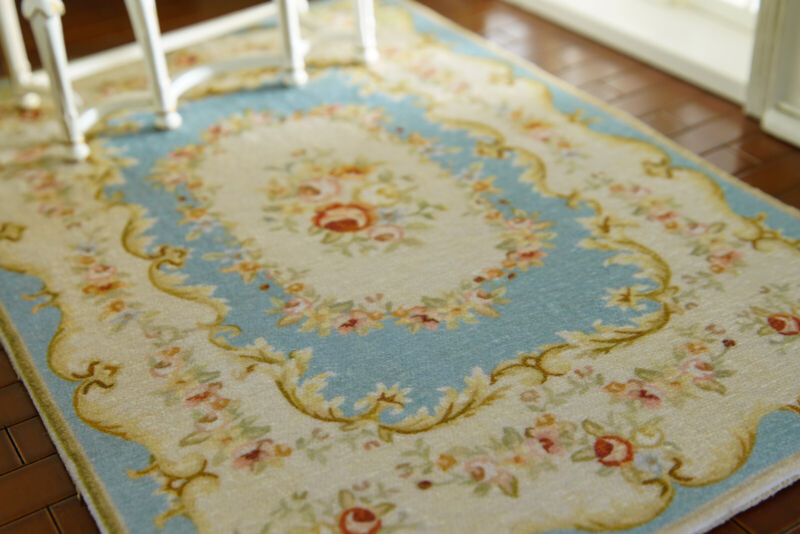1/12 Miniature Baby Blue Beige Floral French Swirls Roses Dollhouse Rug