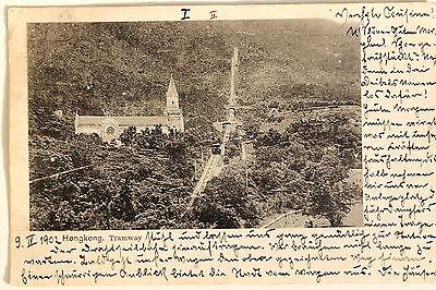 24661 PC Postcard Hong Kong Church and Tramway 1902 Ak Tramway