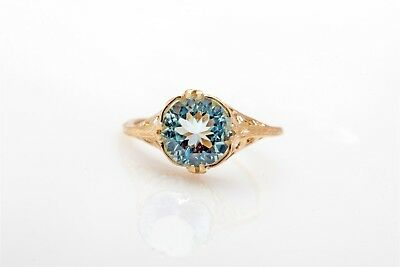 Estate 2ct Natural Aquamarine 14k Yellow Gold Filigree Ring
