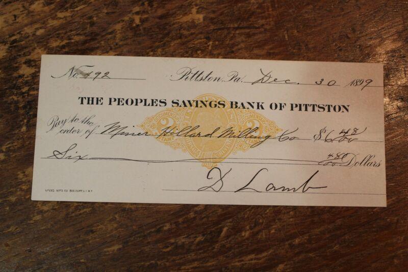 BANK CHECK PEOPLES SAVINGS BANK OF PITTSTON PENNSYLVANIA 1899