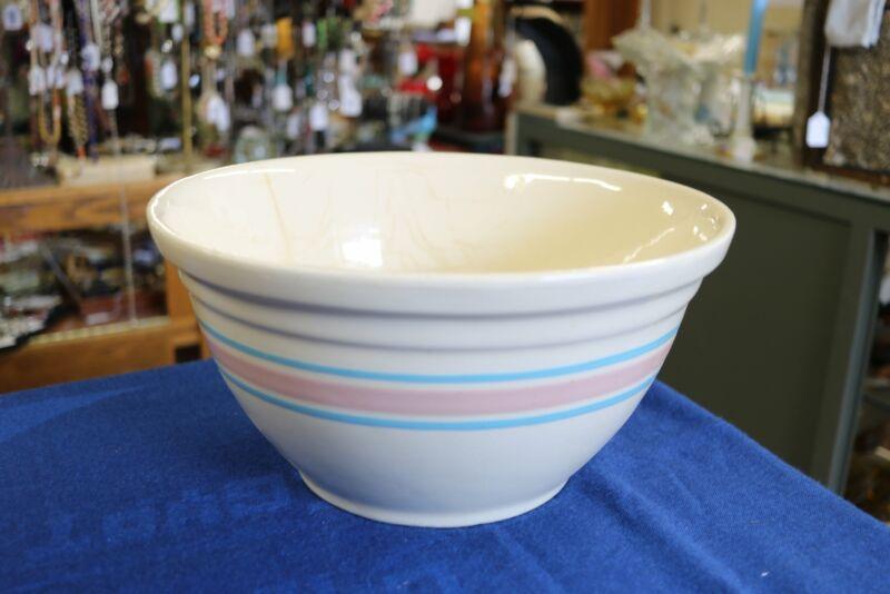 Large Vintage McCoy #12 Pink Blue Stripe Mixing Bowl Ovenware USA