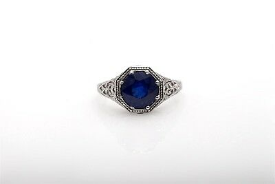 Estate $4000 3ct Natural Blue Sapphire 14k White Gold Filigree Ring 3 Stone Blue Sapphire Ring