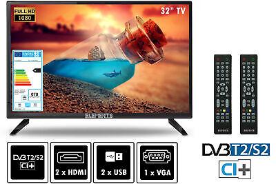 "Elements Fernseher LED TV 32"" Zoll Full HD DVB-T2/S2 2x Remote"