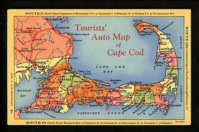 Map Greetings postcard Massachusetts MA Cape Cod Plymouth Boston auto map (Cape Cod Boston Ma)