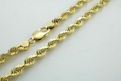 14K Yellow Gold Solid Rope Chain Necklace Bracelet 1mm-10mm Mens Women (7 6