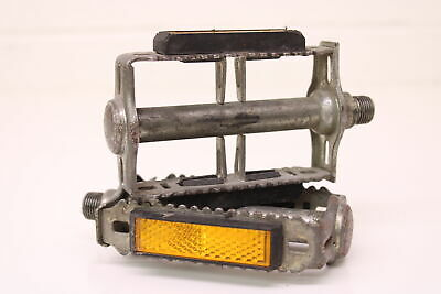 """Retro Bicycle Bike Pedals 9//16/"""" Steel Axle Blocks Pedal with Reflective Strips"""