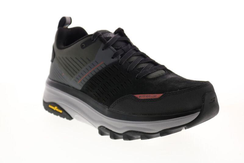 Skechers Max Cushioning Trail 220051 Mens Black Suede Athletic Hiking Shoes 7