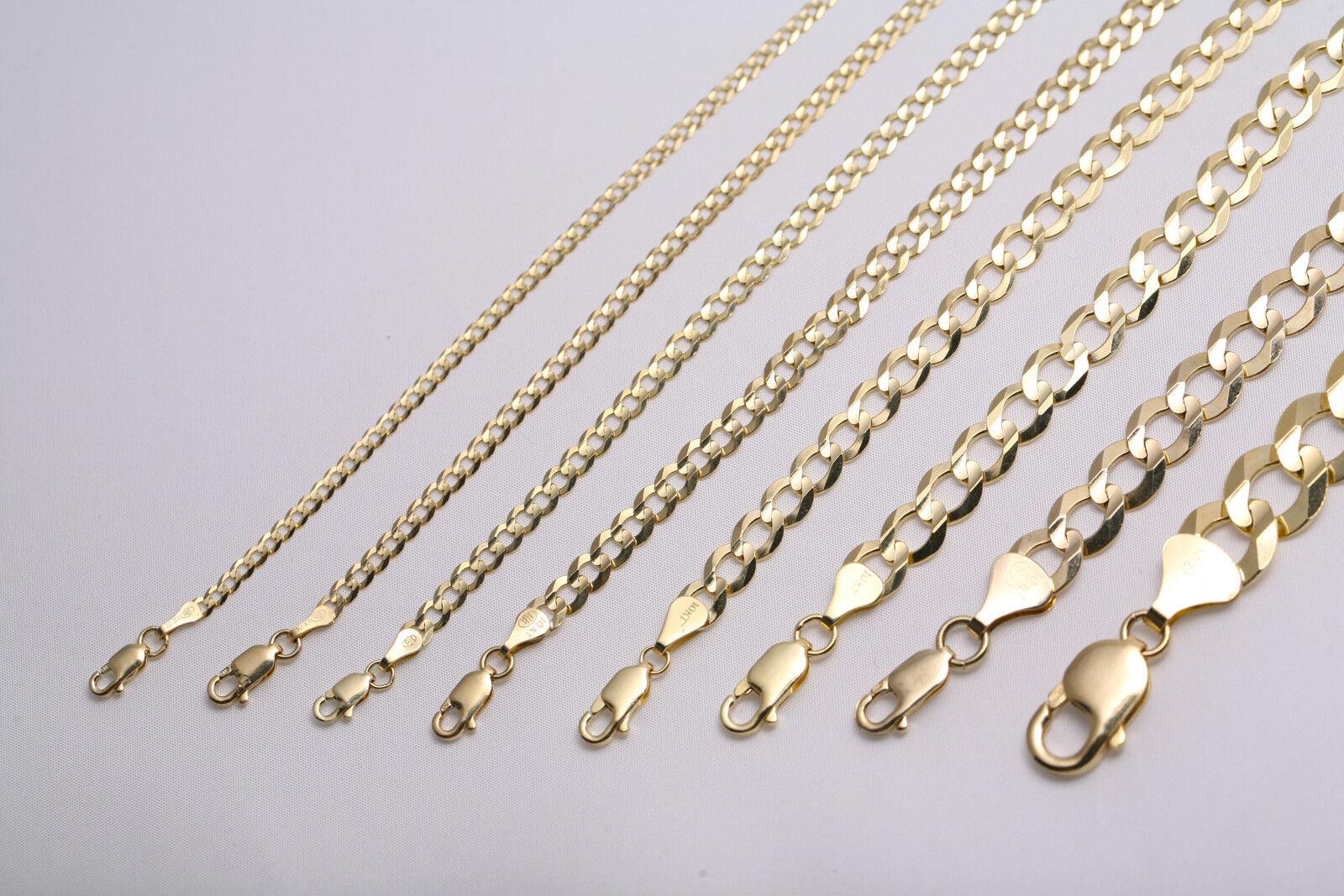 """GOLD AUTHENTIC 10K SOLID GOLD MEN'S WOMEN CUBAN LINK CHAIN NECKLACE SZ 16""""-36"""""""