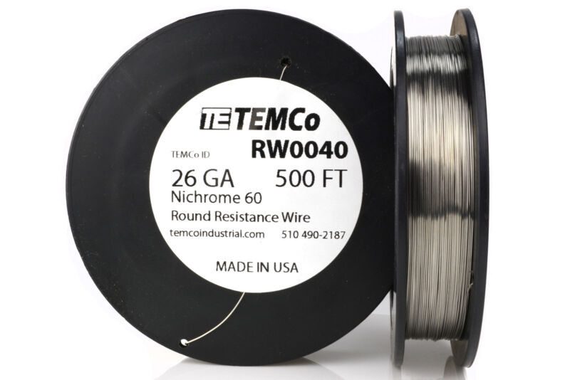 TEMCo Nichrome 60 series wire 26 Gauge 500 Ft Resistance AWG ga