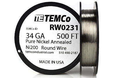 Temco Pure Nickel Wire 34 Gauge 500 Ft Non Resistance Awg Ni200 Nickel 200ga