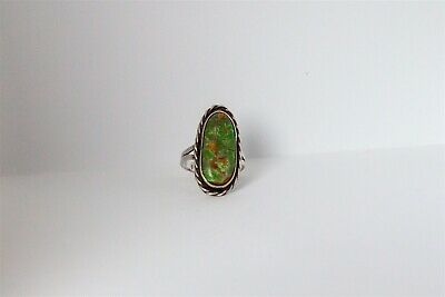 1940s Jewelry Styles and History Antique 1940s RETRO 10ct Natural Nevada Green Turquoise Sterling Silver Ring $45.00 AT vintagedancer.com