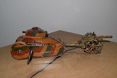 alter Blech MÄRKLIN Panzerwagen mit Geschütz & Schlüssel (600-16)