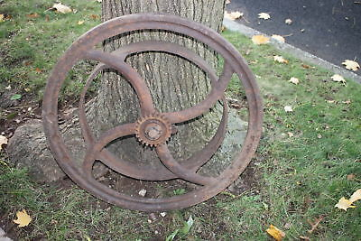 Antique Hit Miss Engine Wheel Assembly Large Industrial Country Decor