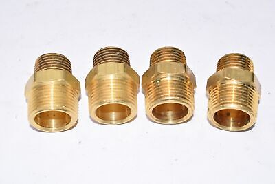 Lot Of 4 Brass Hydraulic Hose Fittings Air Hose Fittings 1-12 Oal X 34